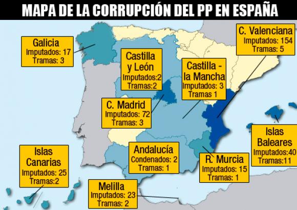 Mapa Corrupcion España 2017.Este Es El Mapa De La Corrupcion Del Partido Popular En