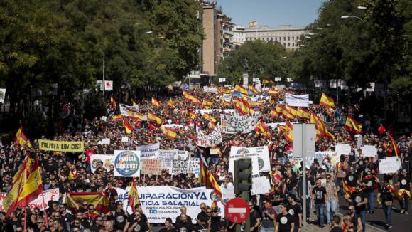 El pasado 6 de octubre Jusapol celebró la primera manifestación para pedir la equiparación salarial