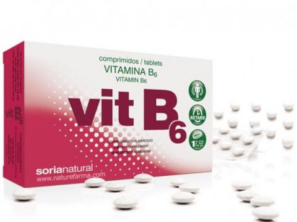 Fotografía de una caja de pastillas de vitamina B6.