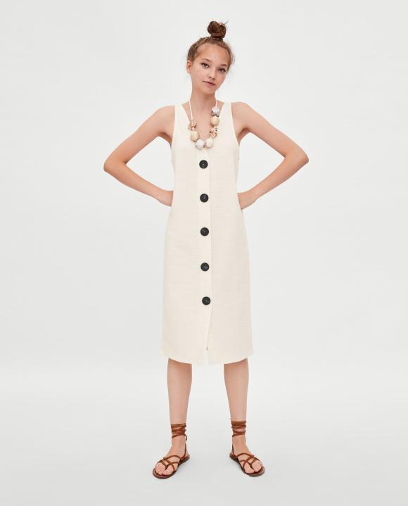 Vestido blanco zara con botones