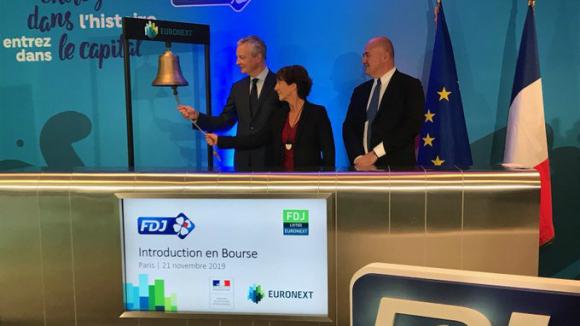 Le Maire, en el toque de campana de FDJ.
