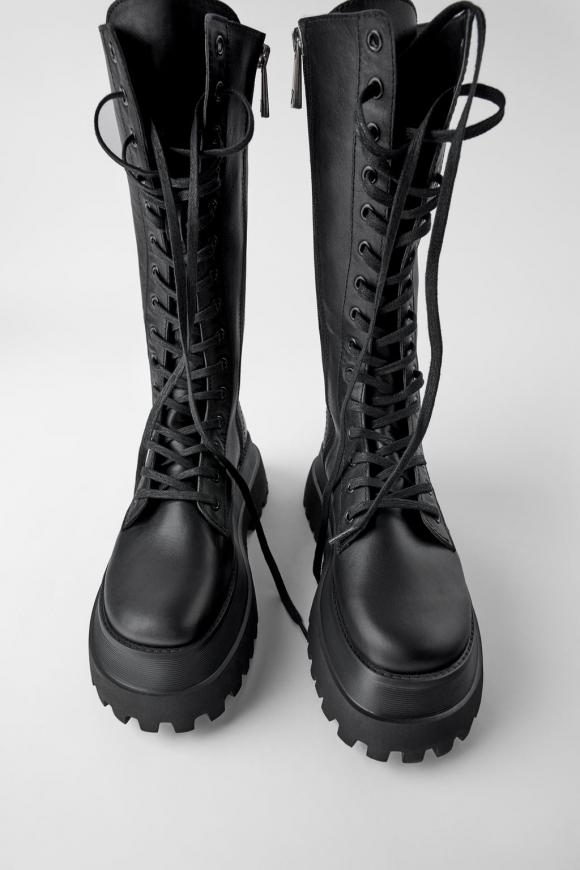 Botas de Combate Zara mujer piel | eBay