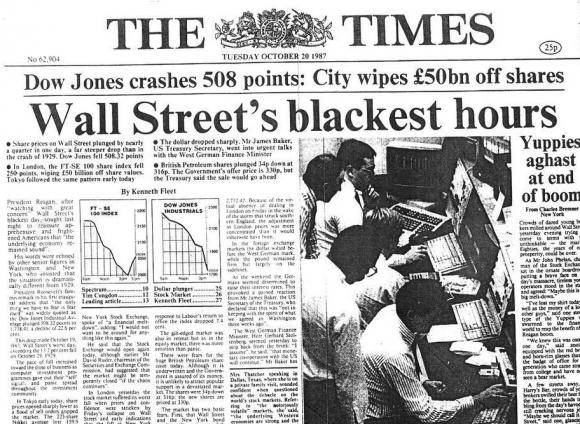 Portada de 'The Times' tras el lunes negro.