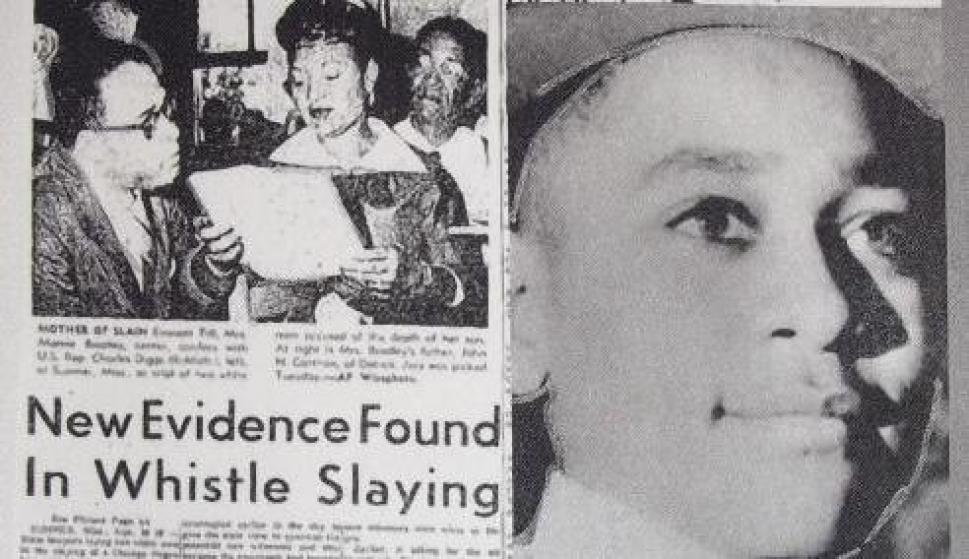 Emmett Till en la portada de un diario de la época