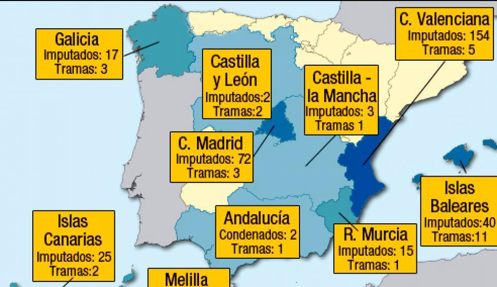 Este es el mapa de la corrupción del Partido Popular en España ...