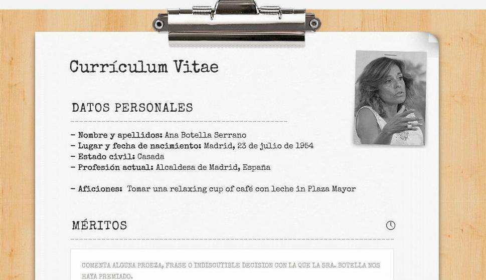 Una web llena de \'méritos\' el Currículum en blanco de Ana Botella ...