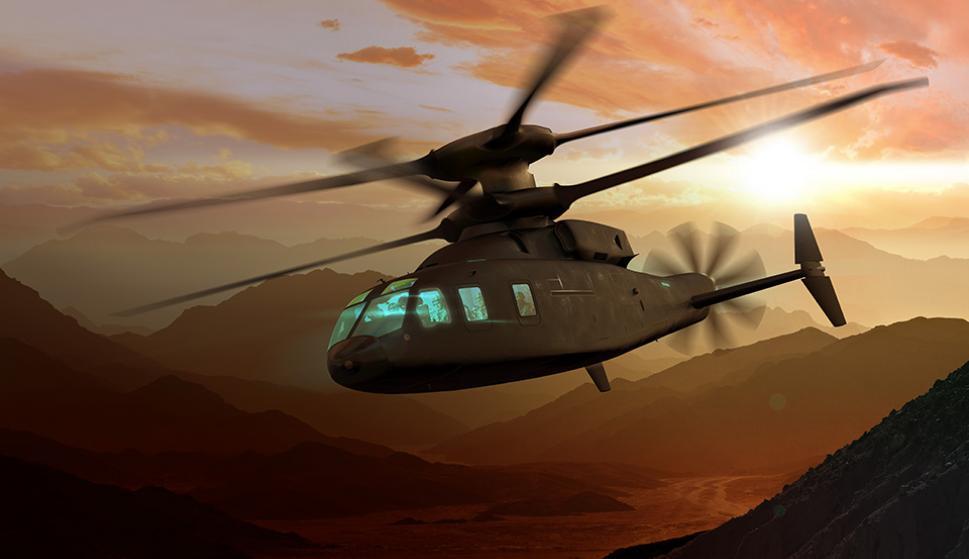 Recreación digital del helicóptero 'Defiant' que trae de cabeza a Boeing y Sikorsky