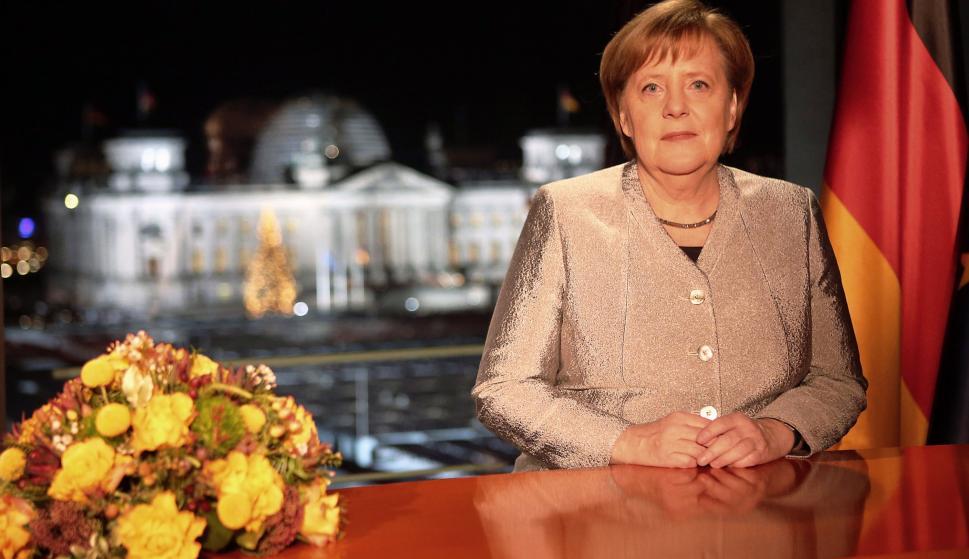 La canciller alemana, Angela Merkel durante el discurso oficial por el fin de año (EFE)