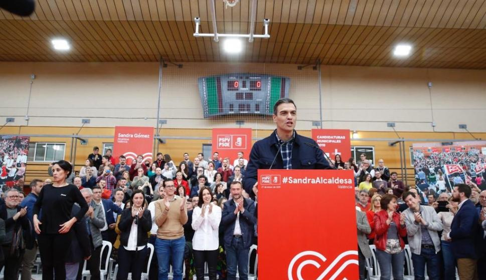 Pedro Sánchez durante su intervención en el acto de Valencia (Foto: PSOE)