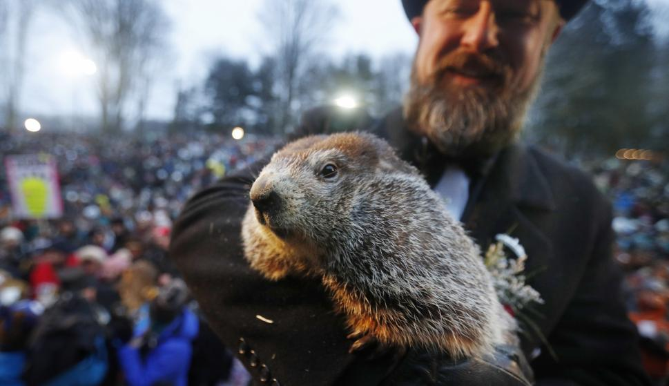 Phil hace su aparición en la celebración del Día de la Marmota en Gobblers Knob en Punxsutawney, Pennsylvania (EFE)