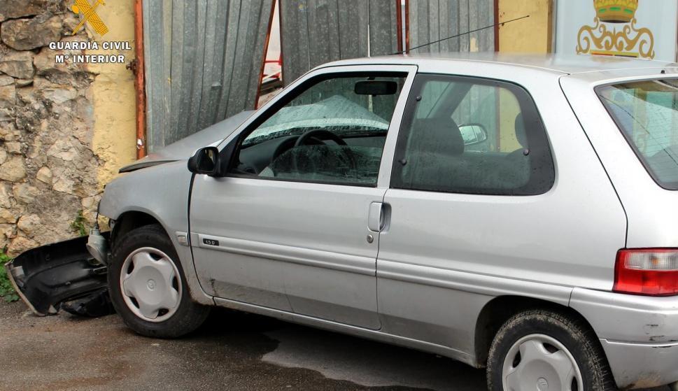 Así quedó el vehículo tras el incidente. /Guardia Civil