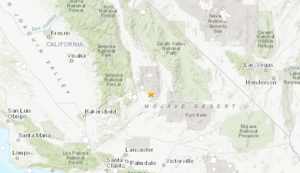 Mapa del epicentro del seísmo en California. /USGS