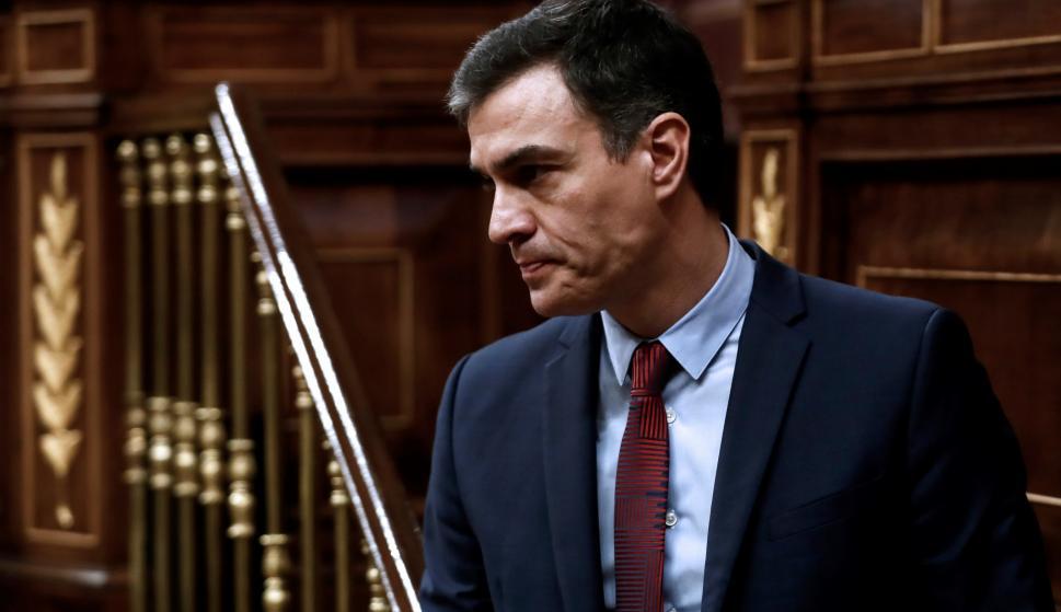 El presidente del Gobierno, Pedro Sánchez, tras su intervención en el pleno celebrado este jueves en el Congreso. /EFE