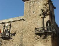 Fachada del palacio de Godoy, en Cáceres