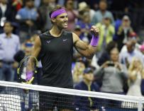Rafael Nadal of Spain reacts after defeating Matteo Berrettini of Italy during their Semi-Finals round match on the twelfth day of the US Open Tennis Championships the USTA National Tennis Center in Flushing Meadows, New York, USA, 06 September 2019. The