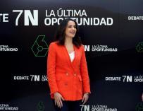 La candidata al Congreso por Barcelona, Inés Arrimadas, este jueves, a su llegada al debate a cinco,