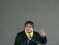Carles Puigdemont durante la manifestación independentista que se celebró en Bruselas
