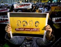 Concentración en la que piden libertad para Oriol Junqueras, Joaquim Forn, Jordi Sánchez y Jordi Cuixart.