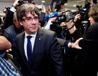 Carles Puigdemont en su rueda de prensa en Bélgica (EFE)