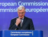 Michel Barnier durante la rueda de prensa en Bruselas