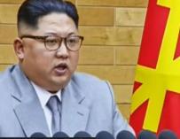 El líder norcoreano durante el discurso de Año Nuevo