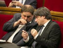 Fotografía de Puigdemont y Junqueras