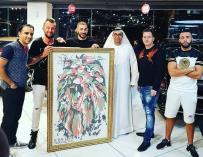 Karim Benzema, junto a sus amigos en Dubai.