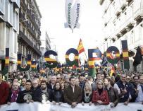 Imagen publicada por Ciudadanos de la cabecera de la manifestación en Barcelona por la equiparación salarial