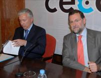 Antoni Abad, presidente de Cecot, junto a Mariano Rajoy.