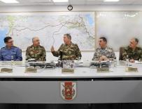 Los militares turcos coordinando la operación