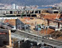 Obras en la estación de la Sagrera.