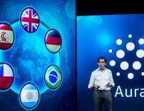 José María Álvarez-Pallete, presidente de Telefónica, durante la presentación de Aura en el MWC18.