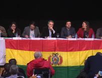Zapatero, Iglesias y Garzón en un acto 'Pro Bolivia'