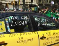 Una de las manifestaciones del taxi.