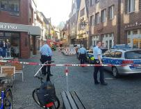 Cordón policial cerca del lugar en el que se ha producido el atropello en Münster (EFE/EPA/NORD-WEST MEDIA)