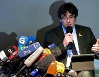 Carles Puigdemont durante la rueda de prensa que ofreció en Berlín