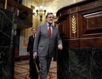 El presidente del Gobierno, Mariano Rajoy, al término de la sesión de control al Ejecutivo del miércoles.