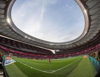 Vista general del estadio Wanda Metropolitano, antes del inicio de la final de Copa del Rey entre el FC Barcelona y el Sevilla FC que se disputará hoy. EFE/Rodrigo Jimenez
