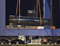 El submarino, escenario del presunto crimen, fue restacado