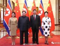 Fotografía oficial del encuentro entre el líder chino y su homólogo norcoreano