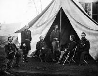 Mandos del Ejército del Potomac en septiembre de 1863: Gouverneur K. Warren, William H. French, George G. Meade, Henry J. Hunt, Andrew A. Humphreys y George Sykes.