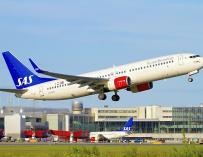 Fotografía de un avión de la compañía sueca SAS.