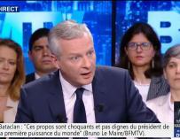 El ministro francés de Economía, Bruno Le Maire, durante la entrevista con BFMTV