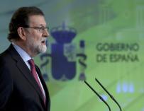 El presidente del Gobierno, Mariano Rajoy, durante la rueda de prensa posterior a la reunión del Consejo de Ministros