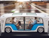 Imagen de un vehículo 'Snap' en funcionamiento rodando de forma autónoma con cuatro pasajeros.Foto: Rinspeed AG/EFE