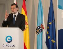 Mariano Rajoy durante su comparecencia en el Círculo de Empresarios de Galicia