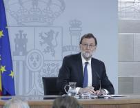 Mariano Rajoy durante su comparecencia ante los medios en Moncloa
