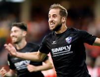 El defensa del Huesca Jorge Pulido celebra el segundo gol de su equipo ante el Lugo en partido de liga en Segunda División que se disputa esta noche en el estadio Anxo Carro.