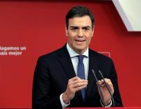 Pedro Sánchez durante la rueda de prensa tras registrar la moción de censura
