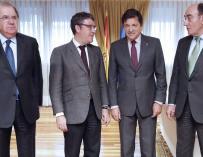 El ministro de Energía, Álvaro Nadal; el presidente de Castilla y León, Juan Vicente Herrera; el presidente de Asturias, Javier Fernández; y el presidente de Iberdrola, Ignacio Sánchez Galán.